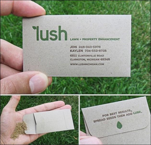 Cartão de visita com sementes pra você plantar.