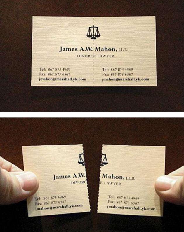 Cartão de visita de um advogado especialista em separação de casais.