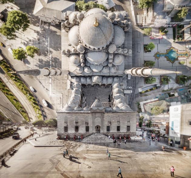 Designer manipula imagens de cidades como se elas pudessem ser dobradas 7