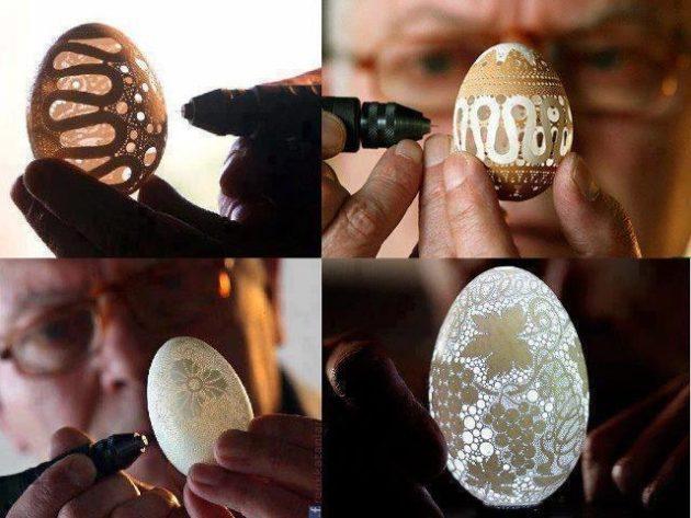 #13 - Escultura incrível com casca de ovo.