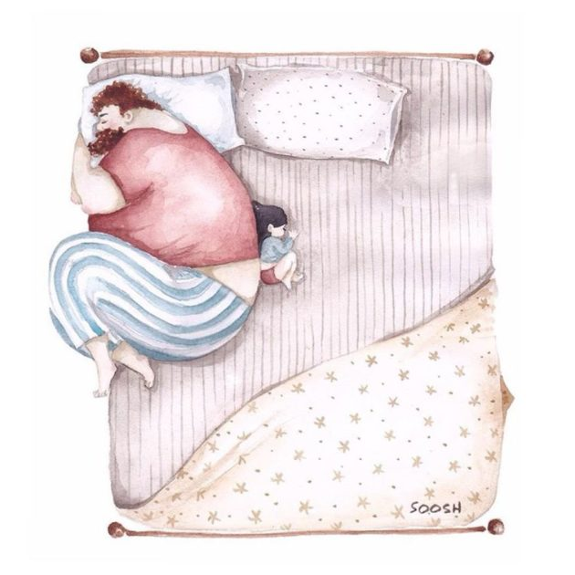 Na hora de dormir, faz de tudo para deixar o maior espaço na cama.