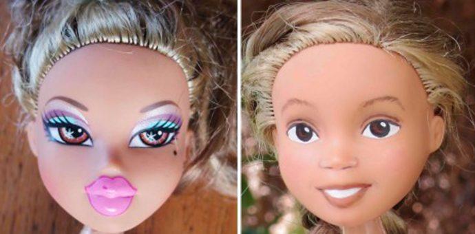Esse Designer removeu a maquiagem das bonecas para deixá-las menos sensuais