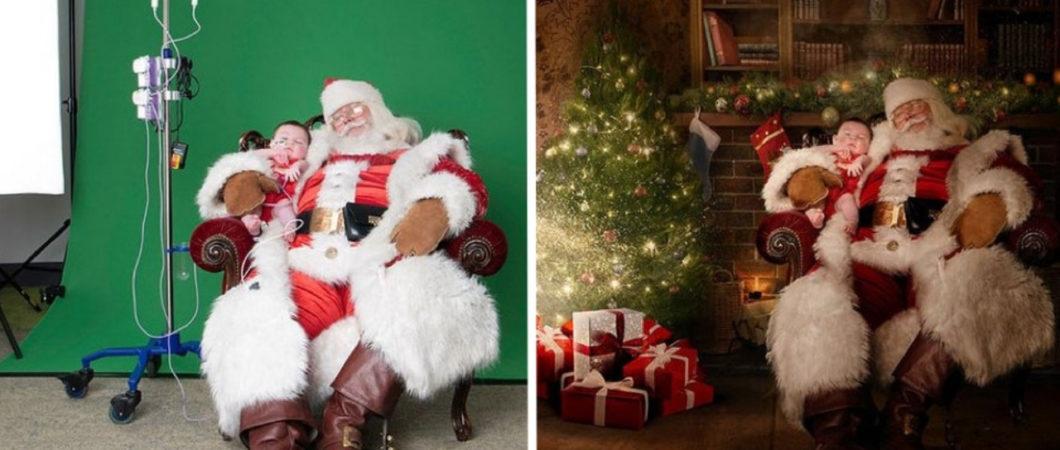 Fotógrafos fazem montagens de fotos de crianças em hospitais com o Papai Noel