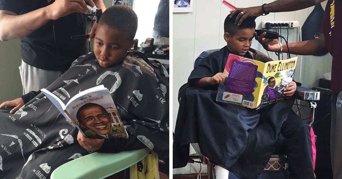 Resultado de imagem para Esse Barbeiro dá desconto para crianças que leem em voz alta para ele.