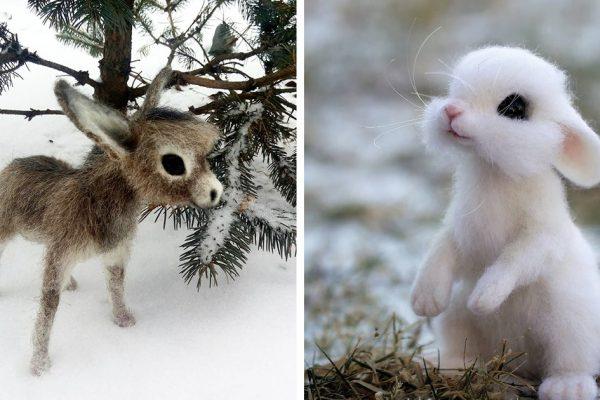 animais lã feltrada capa