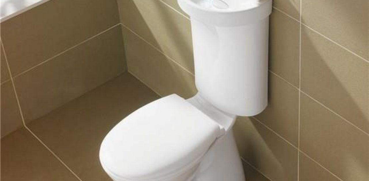 Vaso Sanitário com Pia. Assim você lava as mãos e utiliza a água para a descarga