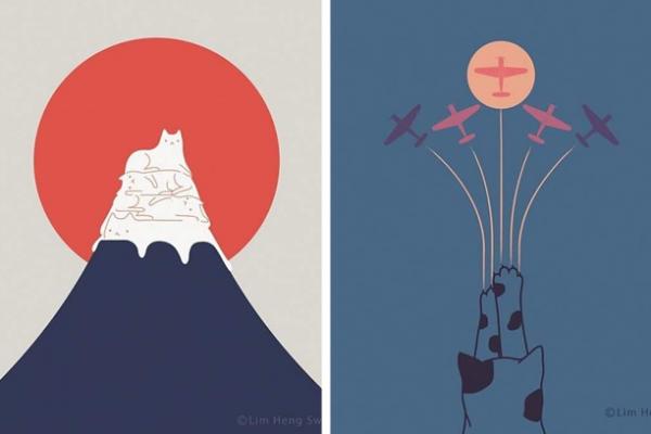 ilustrações de gatos capa