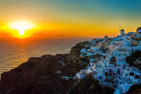 pôr do sol Santorini capa