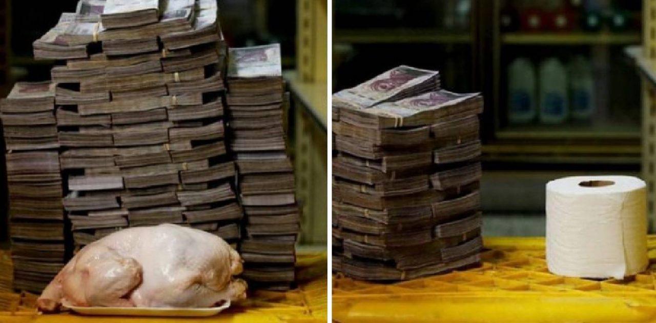 Esse é o tanto de dinheiro que precisa carregar na Venezuela pra comprar  itens básicos.